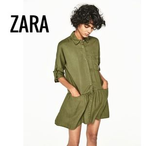 ZARA Shirt Dress With Frill Army Green Size Small